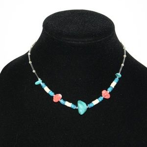 """Beautiful vintage glass and turquoise necklace 15"""""""